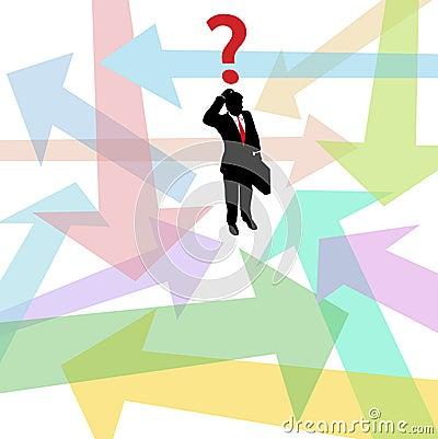 Lost business man question arrows decision