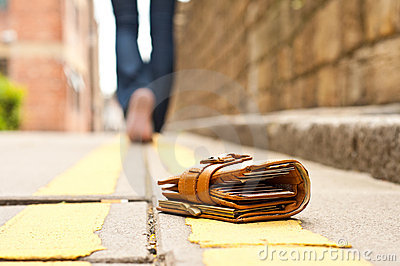 Lost Leather Purse/wallet Royalty Free Stock Photo - Image: 15079335