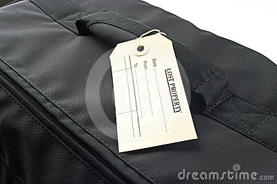 Lost property lable on black bag