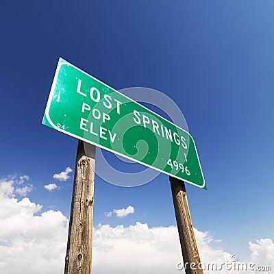 Lost Springs road sign.