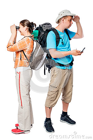 Free Lost Walking Tourists Look In Different Directions On A White Stock Photography - 90660642
