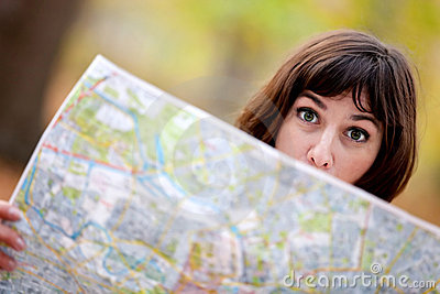 Lost woman with map