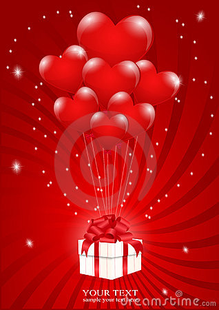 A lot of balloons-heart attached to a gift box