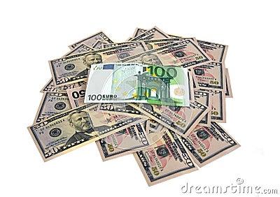 Lot of doolars and euro