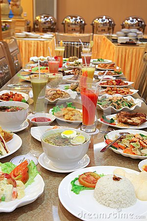 A lot of food on the table