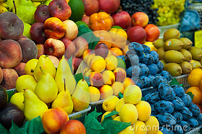 A lot of fresh fruits for sale