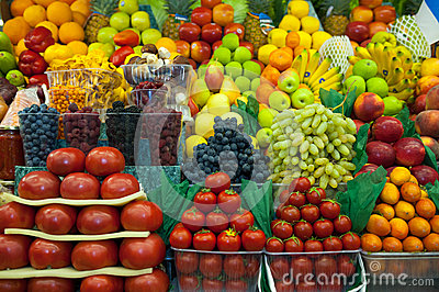 Lot of fresh fruits and vegetables for sale