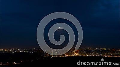Lot nad nocy miastem zdjęcie wideo
