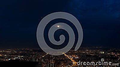 Lot nad nocy miastem zbiory wideo