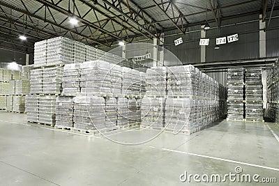Lot of packaged beer in Ochakovo factory