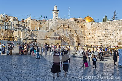 Lot of people at Western Wall in Jerusalem Editorial Photography