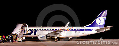 LOT plane at Rzeszow Airport Editorial Stock Photo