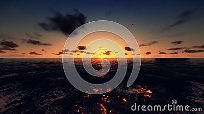 Lot przez ocean, czasu upływu wschód słońca, akcyjny materiał filmowy zdjęcie wideo