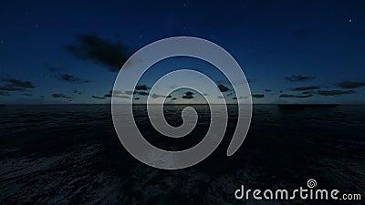 Lot przez ocean przy nocą, akcyjny materiał filmowy zdjęcie wideo