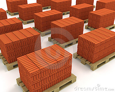 Lot of stacks of orange bricks on pallets