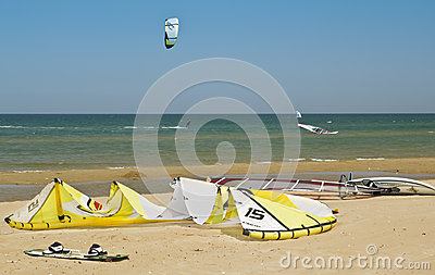 A lot of surfers and kite surfs at beach Editorial Stock Image