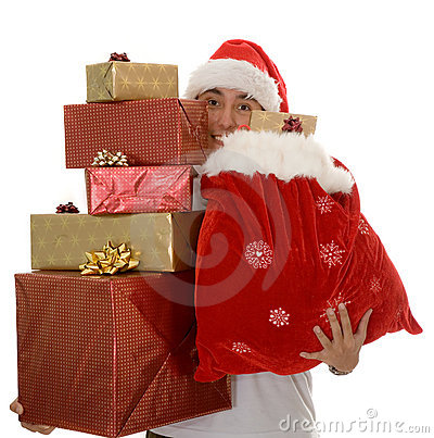 Lots of christmas gifts by santa