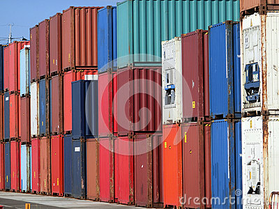 Lots of colorful cargo containers