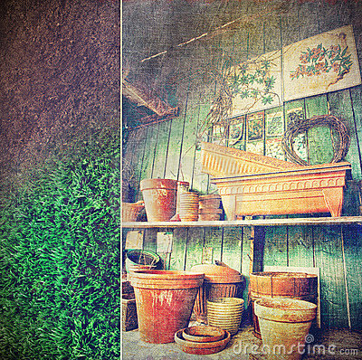Lots of different size pots in the shed