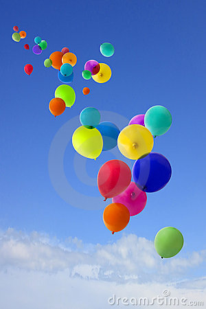 Free Lots Of Coloured Balloons Flying Into The Sky Stock Images - 18886344