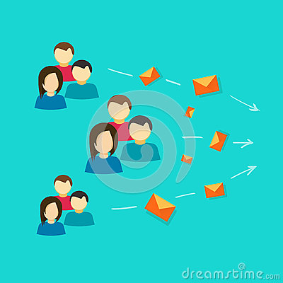 Free Lots Of People Or Customers Contacting Via Email Messages Vector Flat Cartoon, Idea Of Social Group Communication Royalty Free Stock Image - 92551766