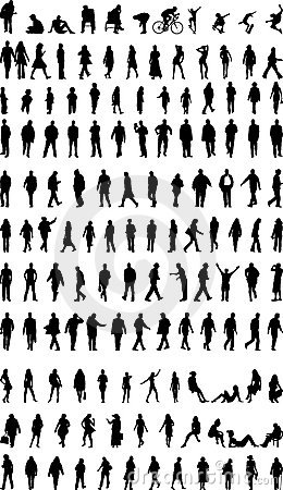 Free Lots Of People Silhouettes Royalty Free Stock Photos - 2123978