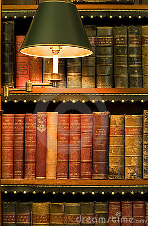 Lots of old books in a library