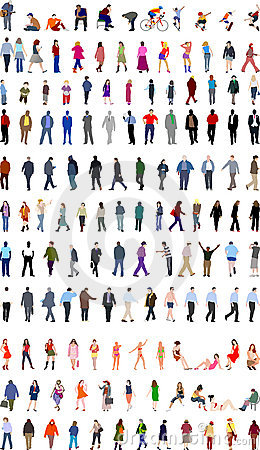 Lots of people illustrations