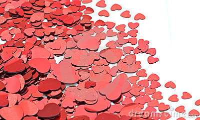 Lots of red hearts on white