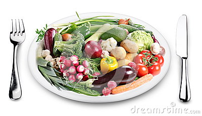 Lots of vegetables on a plate.