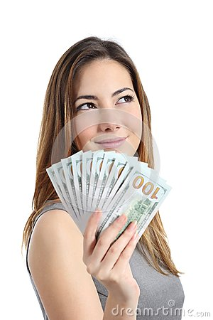 Free Lottery Winner Woman Thinking What To Do With Money Royalty Free Stock Photos - 45764608