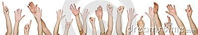 Lotti delle mani sollevate