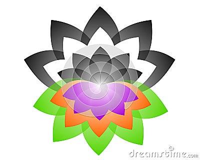 Lotus Logo yin yang Vector Illustration