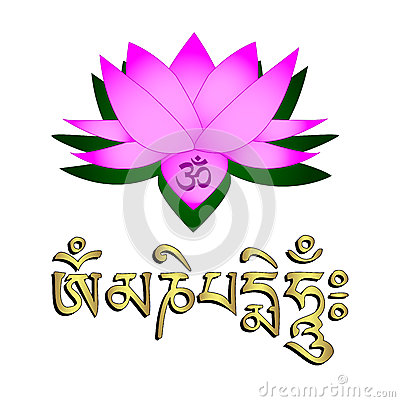 Lotus flower, om symbol and mantra
