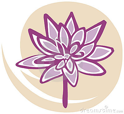 Lotus Flower in Pink on Yellow Background