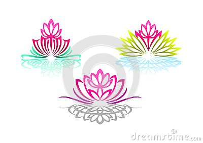 Lotus logo, woman yoga, beauty flower massage, pretty spa sense, reflection wellness, and natural relax concept design. Vector Illustration