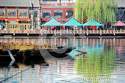 Lotus market in Houhai, Beijing Editorial Stock Photo