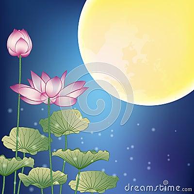 Lotus and Moon at Night