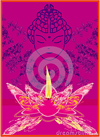 Lotus Oil Lamp with Buddha