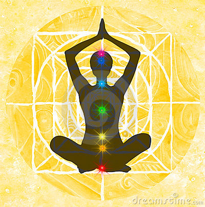 Lotus Pose And Chakra Points Stock Images - Image: 13778274