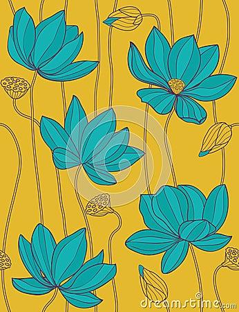 Free Lotus - Seamless Vector Pattern Stock Image - 11174071
