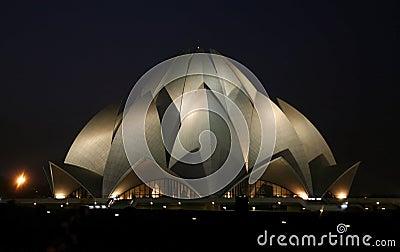 Lotus temple at night, delhi