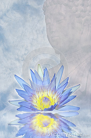 Lotusblommar blommar och Buddha