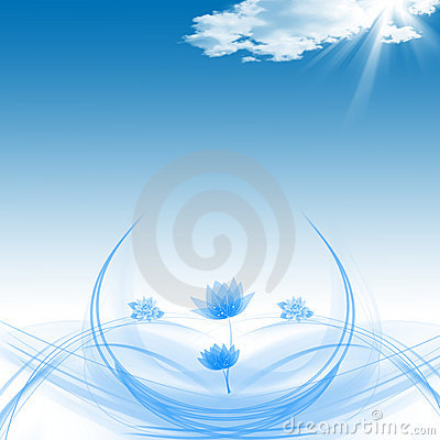 Lotuses hermoso y cielo azul