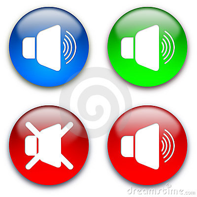 Free Loud Speaker Mute Buttons Royalty Free Stock Images - 10977269
