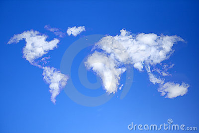 Сlouds in shape of world map.