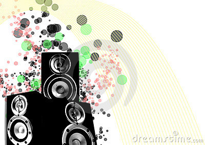 Loudspeaker with retro lines and splashing circles