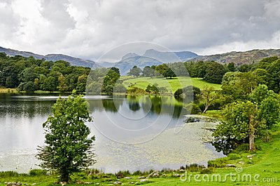 Loughrigg Tarn and the Langdale Pikes