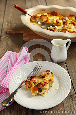 Louisiana Bread Pudding With Bourbon Sauce Royalty Free Stock Image ...