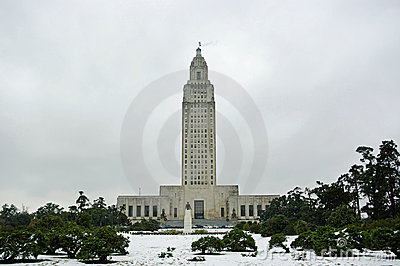 Louisiana Capitol in Snow Editorial Image